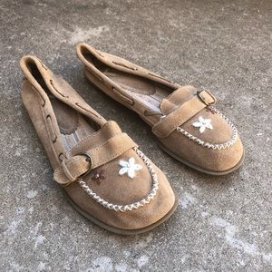 Report tan suede embroidered flats/ moccasins